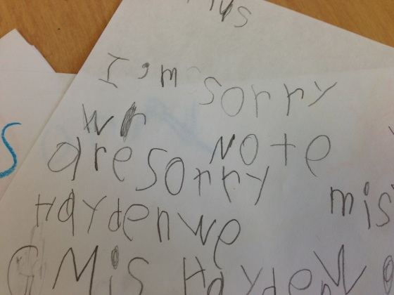 This child is clearly sorry for being note.  AKA naughty.  And they should be.