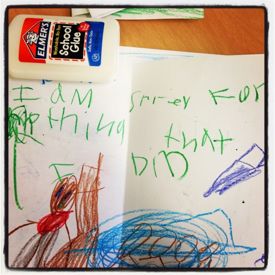 "But this one takes the cake.  From the child who went to in school suspension in the morning and from the sound of things probably should have gone back in the afternoon.  ""I'M SORRY FOR NOTHING I DID.""  probably true..."